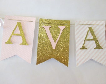 light pink and glitter gold polka dot its a girl banner, baby shower decorations, Welcome baby banner