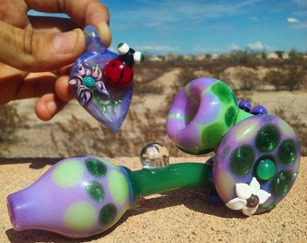 Slime Sherlock Pipe - Sparkly Green - Purple Slime - Hand Made Pattern - Opal - Flower Side Disk - Unique - Heady - (Free Lady Bug Pendant)