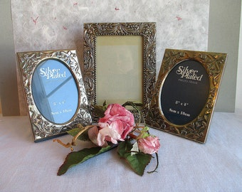 Vintage Antique Silver Picture Frames,Small Antique Silver Picture Frames,Set of 3, Silver Picture Frames,Mini Antique Silver Picture Frames
