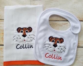 Auburn Burp Cloth Bib Infant Combo - Appliqued & Monogrammed  - Newborn - Baby Burp Cloth - Bib Set Personalized Baby Shower Gift - Newborn