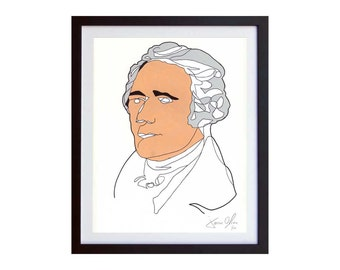 ALexander Hamilton portrait painting print Broadway duel biography revolutionary Color Hand painted framed and signed by Jason Oliva