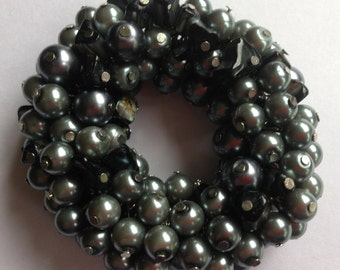 Bracelet  - heavy pewter glass beads bracelet costume jewelry