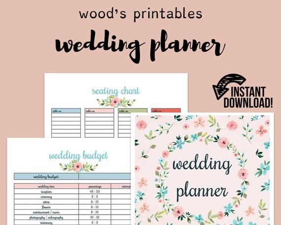 Printable Wedding Planner Binder Planning A Rustic: Wedding Planner Wedding Binder Wedding Planner Book Wedding