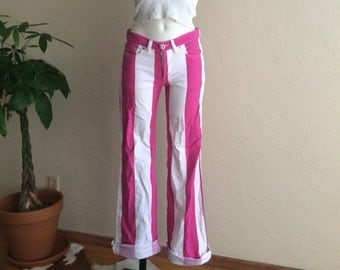 Pink and White Striped Diesel Jeans