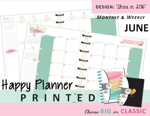 Happy Planner Calendar Refills : Happy planner printed june monthly by myunclutteredlife
