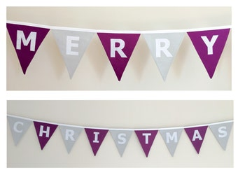 Merry Christmas purple and silver Bunting Banner Flags Decoration