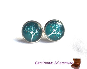 Tree of the Year - earrings Blue with owl