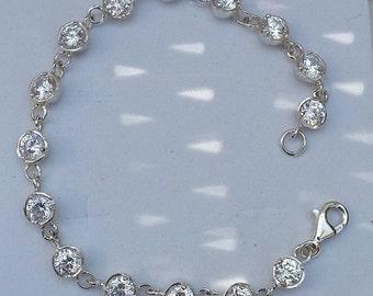 Zircon Silver Bracelet ,Gemstones Silver Bracelet ,Sterling Silver 925 Link Bracelet ,Handmade Zircon Bracelet ,Bridal Zircon Bracelet