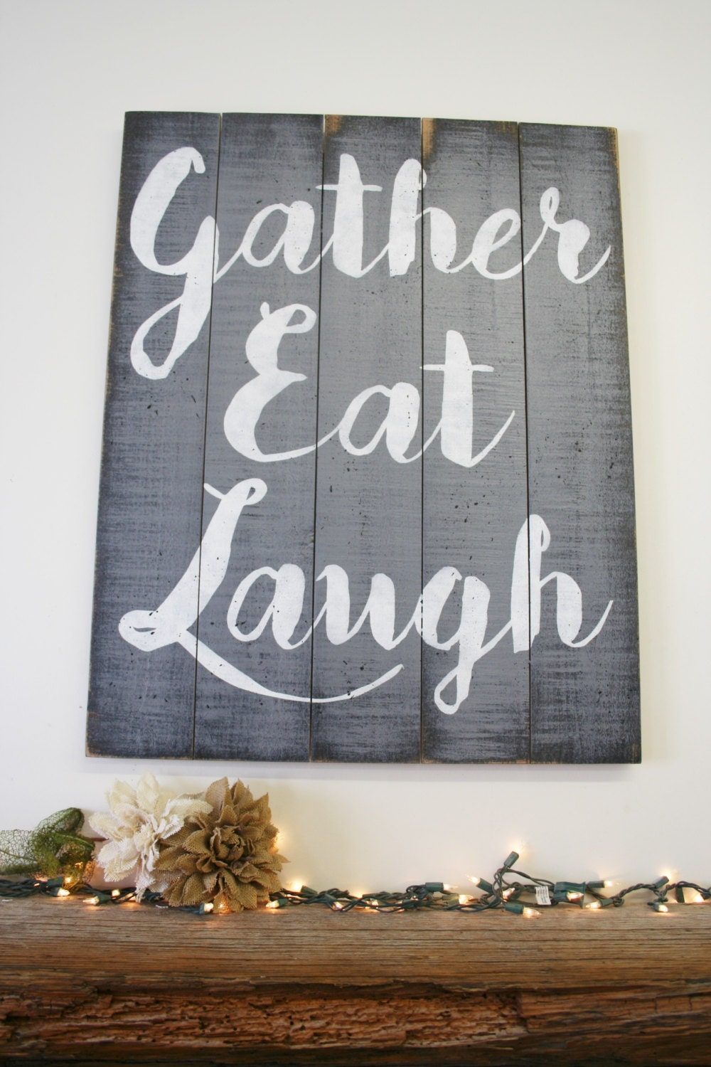 Gather eat laugh pallet sign dining room decor by for Kitchen decoration signs