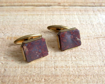 Vintage Jasper Cuff Links. Brown Red Stone Men's Cufflinks Steampunk