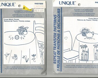UNIQUE REPEAT TRANSFER Patterns.  Cross Stitch Florals.  Suitable for embroidery or Ballpoint paintingMade in Canada..uncut
