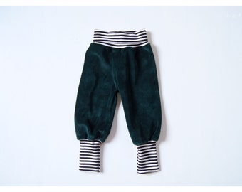 Toddler velour baggy pant nicki forest green with striped cuffs