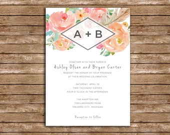 Floral Watercolor Wedding Invitation Package