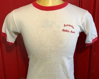 ON SALE 30% OFF Vintage Assumption Athletic Association 1980's Soft Ringer t-shirt (Small)