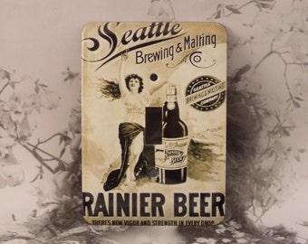 Metal Rainier Beer Light Switch Cover - Single Toggle - Seattle Rainier Beer Brewing & Malting