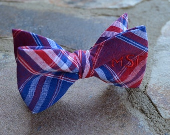 bow tie for kids,  bow tie for boys, monogram bow tie blue and red plaid,red monogram