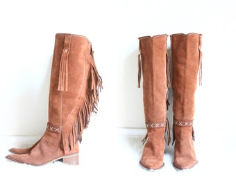 suede fringe boots | knee high brown leather boots | country western cowgirl | desert boot [ US 6 , EU 36 , UK 4 ]