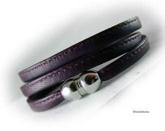 Womens leather wrap bracelet aubergine stainless steel magnetic clasp  -  gift for her wife best friend girlfriend  mother - autumn fall