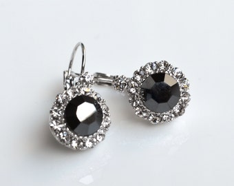 Earrings black crystal