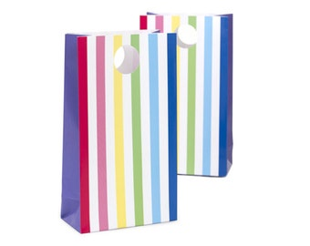 Rainbow Striped Favor Bags (12 Count)