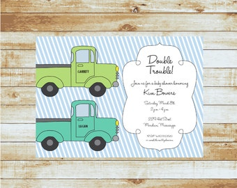Baby Shower Invitation / Boys / Vintage Trucks