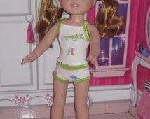 14.5 inch doll 2 pc. mod underwear set fits dolls such as Wellie Wishers H4H Betsy McCall Green and white later gator print knit.
