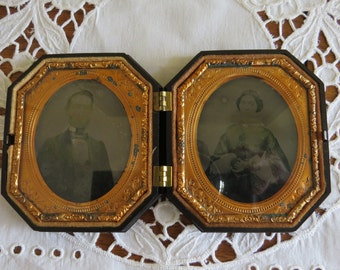 Antique Dagguereotype Gutta-percha Victorian Photographs of Couple Civil War Era Tintype framed, behind glass in surrounded by fine ormolu