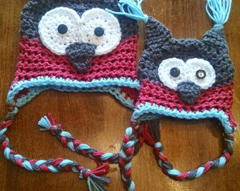 Newborn/infant/baby owl hat. Also avail in toddler and kid sizes. Owl winter hat with horns and braids. Brown, red, and baby blue owl hat