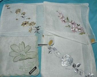 4 Vintage Ladies Hankies Pretty Floral Embroidery Swiss Tag Sheer