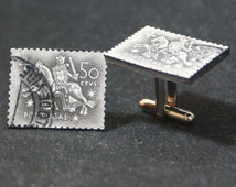 Portugal 50 CTVS Postage Stamp Cufflinks FREE Gift Bag Wedding Portuguese