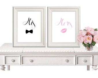 His Hers Sign, Wedding Sign, Bride Groom Sign