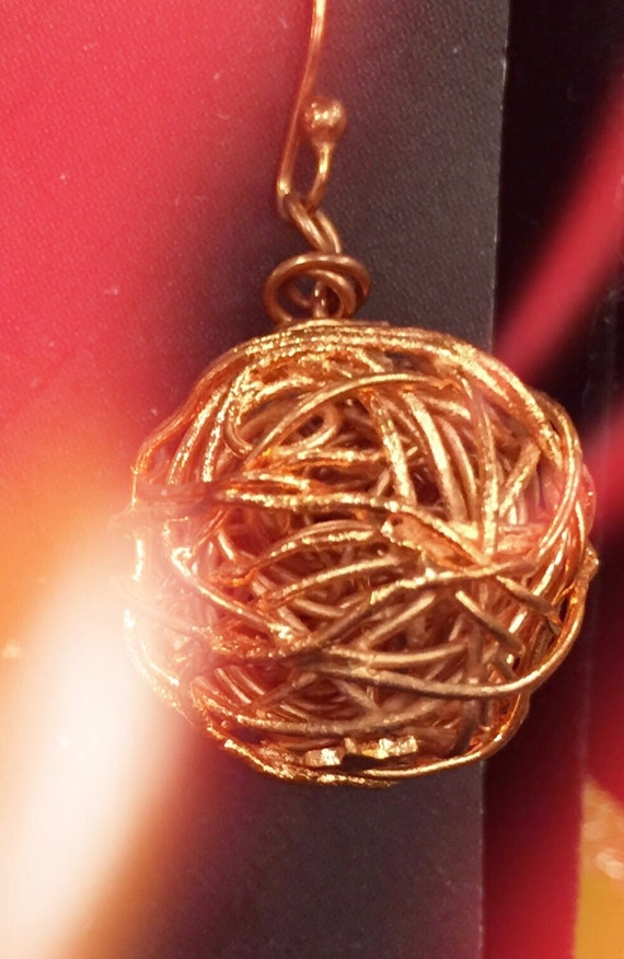 All copper twisted round earrings