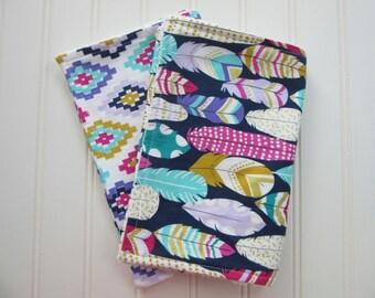 Baby Girl Burp Cloths, Feather Baby Gift, Aztec Baby, Baby Shower Gift, Chenille Burp Cloths, Baby Accessory