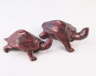 Pair of Carved Wooden Turtles,