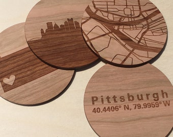 City Map Coasters, Fathers day Gift for him, 5th Anniversary, Custom Coaster Set, Wedding Coasters, Personalized Coaster, Wood Anniversary