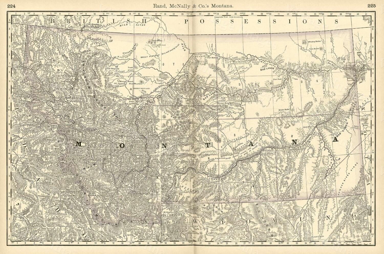 Old Map Of Montana MONTANA ART  Antique Restoration - New york map restoration hardware