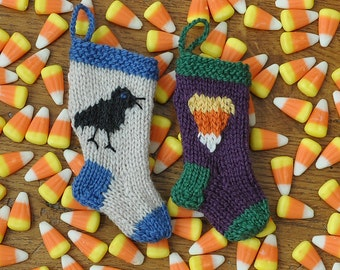 Halloween Crow & Candy Corn Hand-Knit Christmas Stocking Ornaments