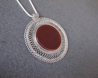 Carnelian necklace,Silver necklace,Carnelian silver necklace,Yemenite necklace ,Israeli jewelry,Ethnic necklace,filigree silver necklace