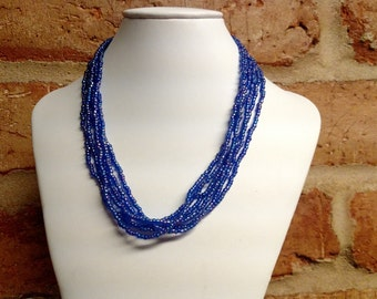 Iridescent Blue Multi strand Seed Bead Necklace