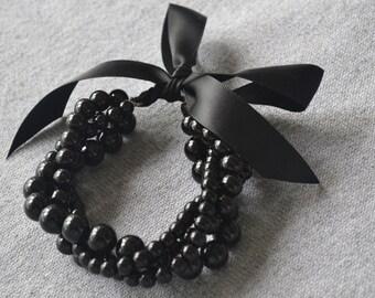 ribbon pearl Bracelet,black Bracelet,pearl bracelet,black pearl bracelet,4 rows bracelet,pearl bracelet,wedding bracelet,bridesmaid bracelet