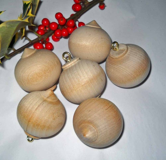 Six Turned Wooden Ornaments, Unfinished Wooden Ball Christmas ...