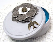 Altered Round Tin Box - Round Gift Box - Repurposed Tin Box - Shabby Chic Box - Distressed Grey Fabric Flower - Vintage Bird Embellishment