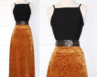 90s baroque golden velvet maxi skirt - large or xl