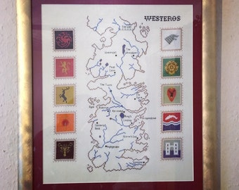 Game Of Thrones map of Westeros cross stitch