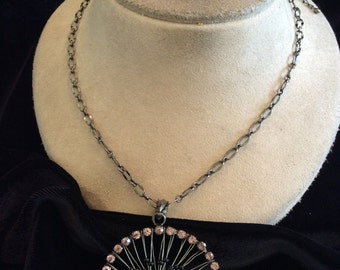 Vintage Lilac Colored Rhinestones Green Stone & Black Beaded Wire Pendant Necklace