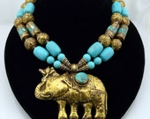 Artisan Handmade Natural Turquoise and Chased Solid Brass Choker With Elephant Pendant