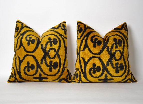 15x15 pillows set of 2 ikat velvet pillow cover uzbek