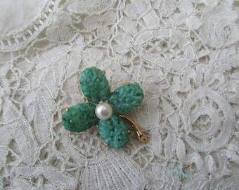 Vintage brooch 1950's Four leaf clover