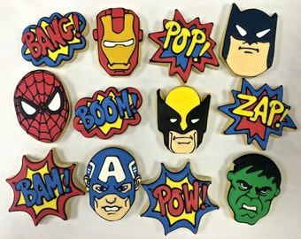 Superhero Cookie Favors, Cookies Favors for Birthday parties, Superhero Gift Cookies, Superhero Party Favor Cookies