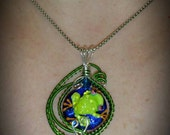 Fanciful Frog Glass and Wire Pendant